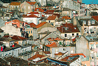 The roofs of the old town in the city of Lisbon, capital of Portugal.