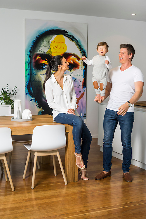 Home + Life Mag, Toby Strong, the Founder of Podista, with his wife Angela and their son Louis at their home in Glenelg.   Photo: Nick Clayton