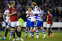 Reading's Yann Kermorgant (obscured) celebrates scoring the opening goal with team mates         <br /> <br /> <br /> Photographer Craig Mercer/CameraSport<br /> <br /> The EFL Sky Bet Championship Play-Off Semi Final Second Leg - Reading v Fulham - Tuesday May 16th 2017 - Madejski Stadium - Reading <br /> <br /> World Copyright &copy; 2017 CameraSport. All rights reserved. 43 Linden Ave. Countesthorpe. Leicester. England. LE8 5PG - Tel: +44 (0) 116 277 4147 - admin@camerasport.com - www.camerasport.com