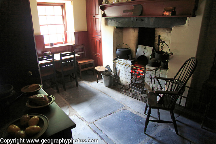 Interior quarryman's house 1861, National slate museum, Llanberis, Gwynedd, Snowdonia, north Wales, UK