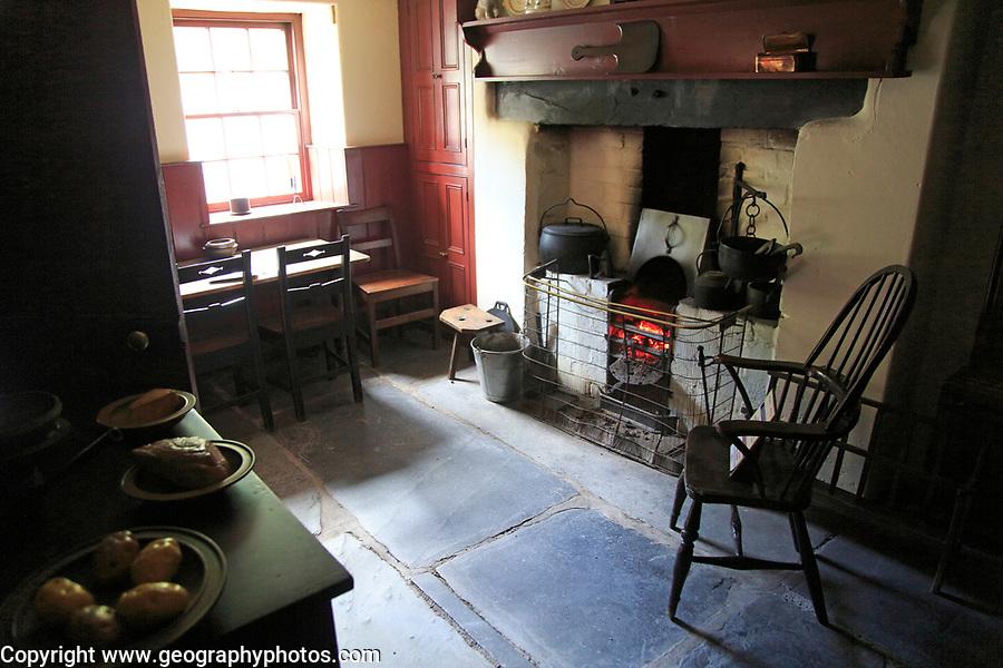 Interior quarryman's house 1861, National slate museum, Llanberis, Gwynedd, Snowdonia, north Wales, UK