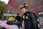 The 105th Milan–Sanremo 2014, 2013 winner Gerald Ciolek (GER) MTN-Qhubeka signs on before the start of the race, Milan, Italy. 23rd March 2014.     <br /> Photo: Daniele Bottallo/LaPresse/www.newsfile.ie