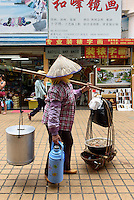 ambulante Essensverk&auml;uferin in Sanya auf der Insel Hainan, China<br /> food vendor in Sanya,  Hainan island, China