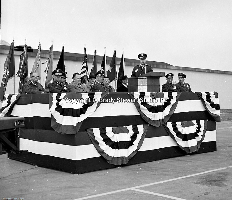 Pittsburgh PA:  US Army General Robert Wood and base personnel conducting a press conference announcing the new Command and Control Center status of the Oakdale NIKE site - 1963.  The Oakdale site became the command and control center for all the regional NIKE sites after the enhanced radar systems were installed.  <br />