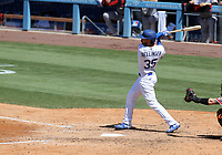 25th July 2020, Los Angeles, California, USA; Los Angeles Dodgers outfielder Cody Bellinger (35) gets a hit during the game against the San Francisco Giants on July 25, 2020, at Dodger Stadium in Los Angeles, CA.
