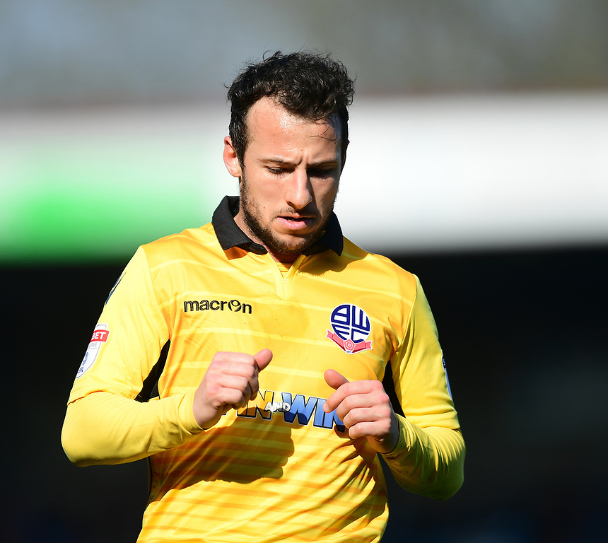 Bolton Wanderers&rsquo; Adam Le Fondre<br /> <br /> Photographer Chris Vaughan/CameraSport<br /> <br /> The EFL Sky Bet League One - Scunthorpe United v Bolton Wanderers - Saturday 8th April 2017 - Glanford Park - Scunthorpe<br /> <br /> World Copyright &copy; 2017 CameraSport. All rights reserved. 43 Linden Ave. Countesthorpe. Leicester. England. LE8 5PG - Tel: +44 (0) 116 277 4147 - admin@camerasport.com - www.camerasport.com