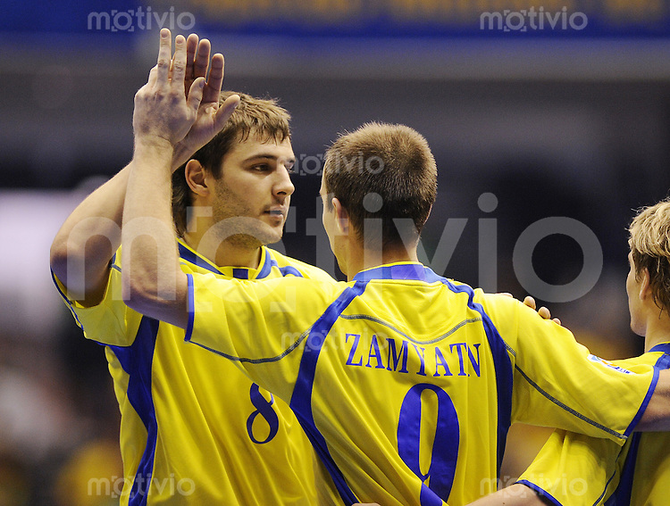 Fussball  International  FIFA  FUTSAL WM 2008   07.10.2008 Vorrunde Gruppe C Ukraine - Aegypten Ukraine - Egypt Oleksandr Khursov und Valeriy Zamyatin (von links, UKR) jubeln nach dem 5-1