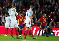 Eric Dier (Tottenham Hotspur) of England holds his head in hands following Spain second goal during the International Friendly match between England and Spain at Wembley Stadium, London, England on 15 November 2016. Photo by Andy Rowland.
