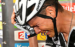 Warren Barguil (FRA) Team Sunweb distraught after being initially told he'd won the stage only to be informed he finished 2nd after a photo finish at the end of Stage 9 of the 104th edition of the Tour de France 2017, running 181.5km from Nantua to Chambery, France. 9th July 2017.<br /> Picture: ASO/Bruno Bade | Cyclefile<br /> <br /> <br /> All photos usage must carry mandatory copyright credit (&copy; Cyclefile | ASO/Bruno Bade)