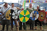 Vikings line up to do battle at the Viking festival in Annagassan. Photo: www.pressphotos.ie