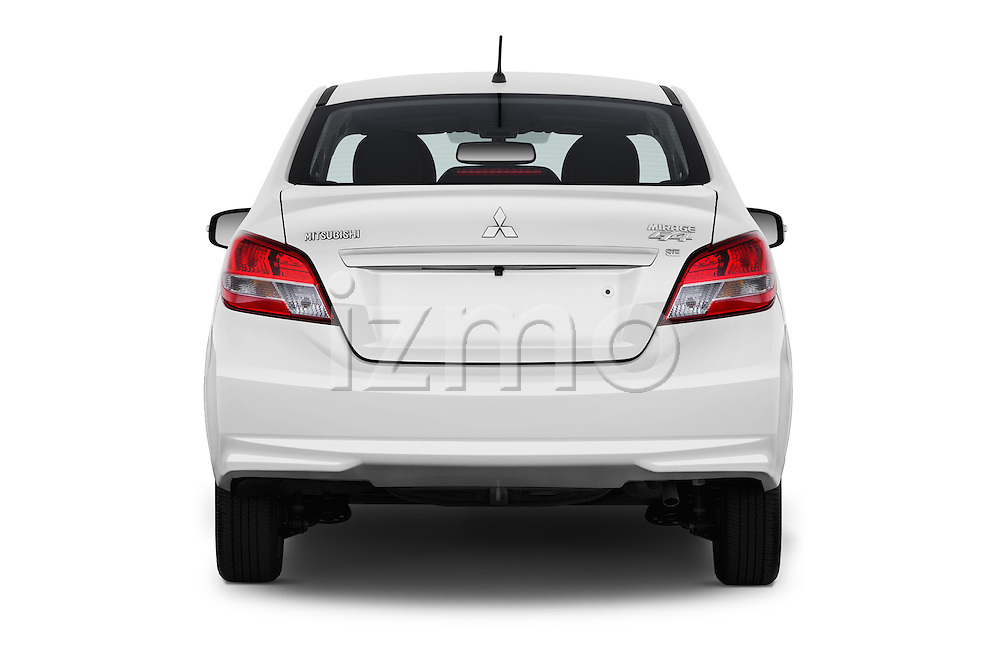 Straight rear view of 2017 Mitsubishi Mirage-G4 SE-CVT 4 Door Sedan Rear View  stock images