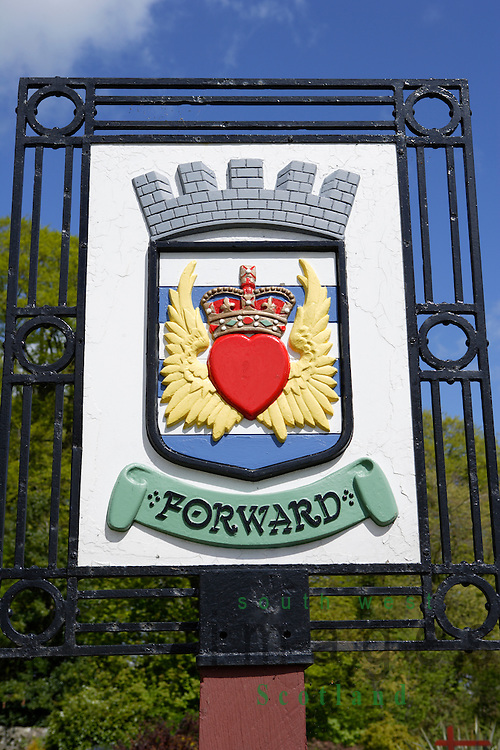 Coat of arms for the town of Castle Douglas at entrance to town Dumfries and Galloway Scotland UK