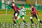 Cian Foley left and David Twomey Masterheeha try to rob the ball off  Ryan Kelleher Killarney Celtic  during their u12 league game in Killarney on Saturday