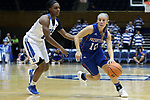 DURHAM, NC - NOVEMBER 26: Presbyterian's Cortney Storey (10) and Duke's Mikayla Boykin (12). The Duke University Blue Devils hosted the Presbyterian College Blue Hose on November 26, 2017 at Cameron Indoor Stadium in Durham, NC in a Division I women's college basketball game. Duke won the game 79-45.