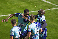 Aaron Pierre of Wycombe Wanderers & goalscorer Adebayo Akinfenwa of Wycombe Wanderers celebrate with the celebration that has gone viral on the internet after last weekend during the The Checkatrade Trophy match between Wycombe Wanderers and West Ham United U21 at Adams Park, High Wycombe, England on 4 October 2016. Photo by Andy Rowland.