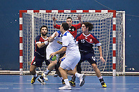 02 NOV 2011 - LONDON, GBR - Britain's Bobby White (centre top) watches play in front of his goal during the Men's 2013 World Handball Championship qualification match against Israel at the National Sports Centre at Crystal Palace (PHOTO (C) NIGEL FARROW)
