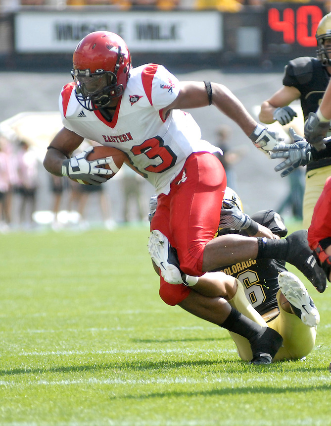 06 September 08: Eastern Washington receiver Brynsen Brown (83) carries the ball against Colorado. The Colorado Buffaloes defeated the Eastern Washington Eagles 31-24 at Folsom Field in Boulder, Colorado. FOR EDITORIAL USE ONLY