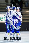Stockholm 2013-11-08 Bandy Elitserien Hammarby IF - Villa Lidk&ouml;ping BK :  <br /> Villa Lidk&ouml;ping David Karlsson gratuleras av lagkamrater efter sitt 2-2 m&aring;l<br /> (Foto: Kenta J&ouml;nsson) Nyckelord:  jubel gl&auml;dje lycka glad happy