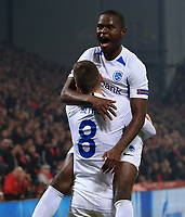 5th November 2019; Anfield, Liverpool, Merseyside, England; UEFA Champions League Football, Liverpool versus Genk; Mbwana Samatta of KRC Genk celebrates his equalising goal after 40 minutes with team mate Bryan Heynen of KRC Genk - Editorial Use