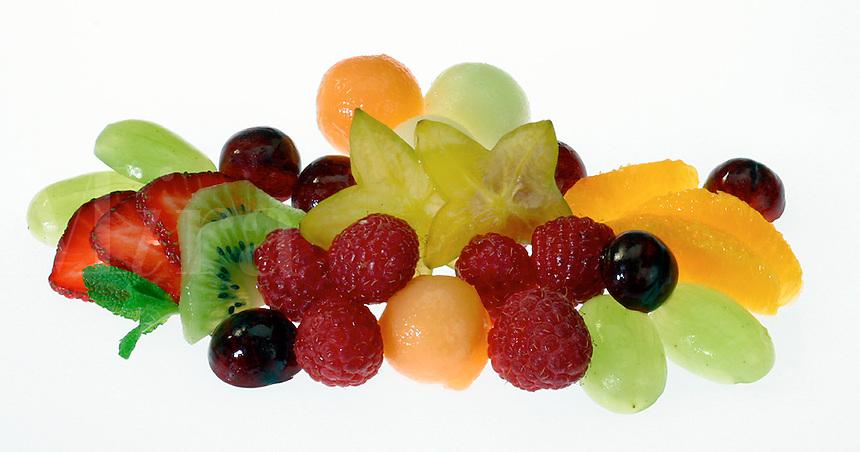 Fresh Fruit Salad on white backdrop