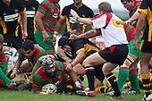 Referee John Wright awards Simon Lemalu with Waiuku's first try.  Counties Manukau Premier Club Rugby game between Waiuku and Bombay, played at Waiuku on Saturday July 5th 2010. Waiuku won 59 - 14 after trailing 12 - 14 at halftme.