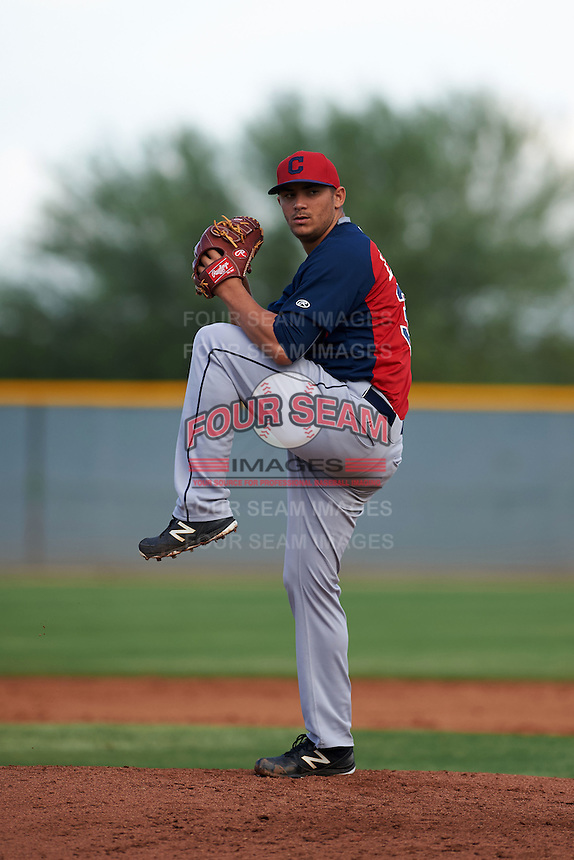 Cleveland Indians Leandro Linares (35) during an instructional league game against the Cincinnati Reds on October 17, 2015 at the Goodyear Ballpark Complex in Goodyear, Arizona.  (Mike Janes/Four Seam Images)