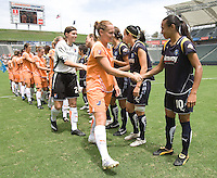Sky Blue FC's Christie Rampone greets LA Sol's Marta before the start of a  Sky Blue FC 1-0 victory over the LA Sol to win the WPS Championship match at the Home Depot Center, Saturday, August 22, 2009.