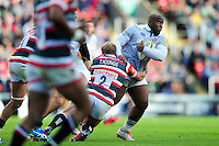 Beno Obano of Bath Rugby takes on the Leicester Tigers defence. Aviva Premiership match, between Leicester Tigers and Bath Rugby on September 25, 2016 at Welford Road in Leicester, England. Photo by: Patrick Khachfe / Onside Images