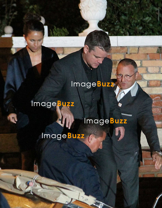 Matt Damon  - GEORGE CLOONEY &amp; AMAL ALAMUDDIN CELEBRATE STAG NIGHT EVENT AT DA IVO RESTAURANT IN VENICE - <br /> George Clooney &amp; British fiancee Amal Alamuddin celebrate their stag night event at the Da Ivo restaurant in Venice, prior to their wedding day. <br /> Robert De Niro, Matt Damon, Brad Pitt and Cate Blanchett were among the other stars, like Cindy Crawford, Rande Geber, Bill Murray, Emily Blunt.<br /> Italy, Venice, 26 September, 2014.