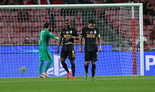 03.11.2015. Lisbon, Portugal.  UEFA Champions League Group C football match between Benfica and Galatasaray at Estadio da Luz Stadium in Lisbon, Portugal. Aurelien Chedjou and Selcuk Inan (R) of Galatasaray.