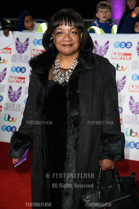 LONDON, UK. October 29, 2018: Dianne Abbott at the Pride of Britain Awards 2018 at the Grosvenor House Hotel, London.<br /> Picture: Steve Vas/Featureflash