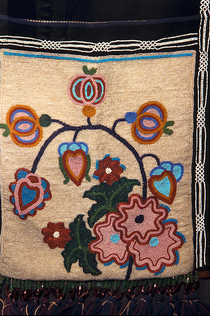 Shawnee floral beadwork decorates a traditional shoulder bag