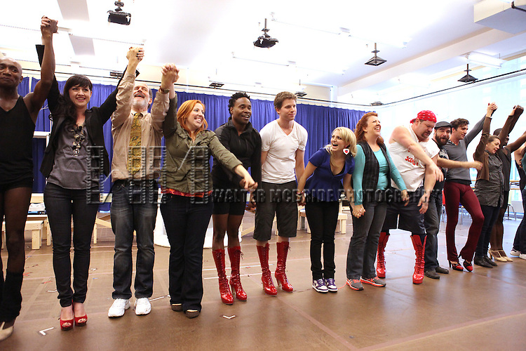 Celina Carvajal, Marcus Neville, Billy Porter, Stark Sands and Annaleigh Ashford & Company performing in the Sneek Peek Press Preview of the New Broadway Musical 'Kinky Boots' at the New 42nd Street Studios in New York City on September 14, 2012.