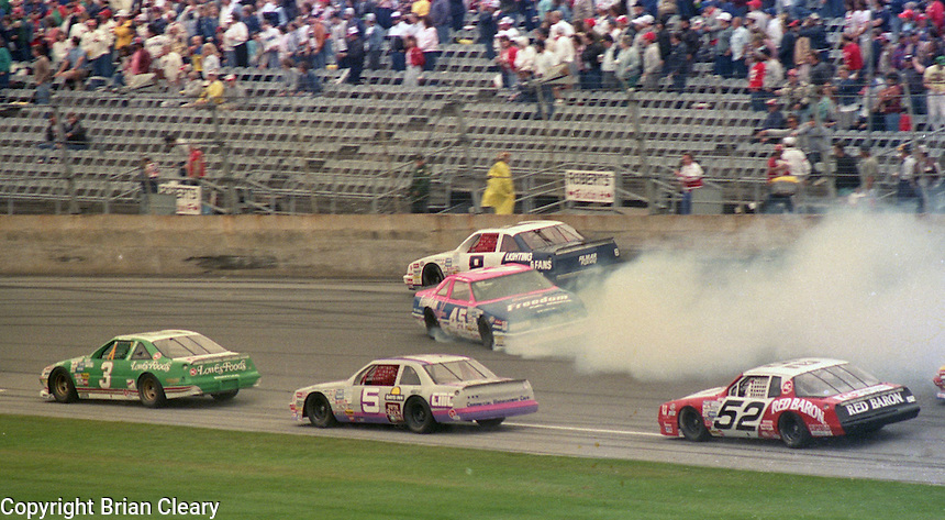 Patty Moise Busch Series race crash  at Daytona International Speedway on February 18, 1989.  (Photo by Brian Cleary/www.bcpix.xom)
