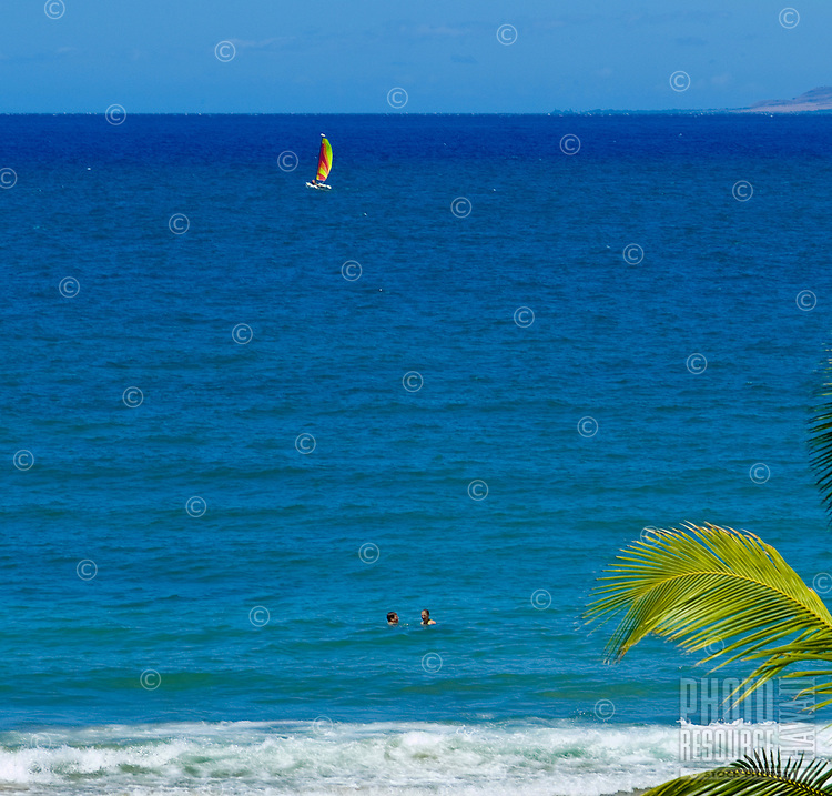 A sailboat cruises off beautiful Wailea beach on West Maui. Palm fronds in foreground.