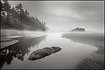 Olympic National Park, Washington:<br /> Ruby Beach, ground fog swirls around tide pools and headlands