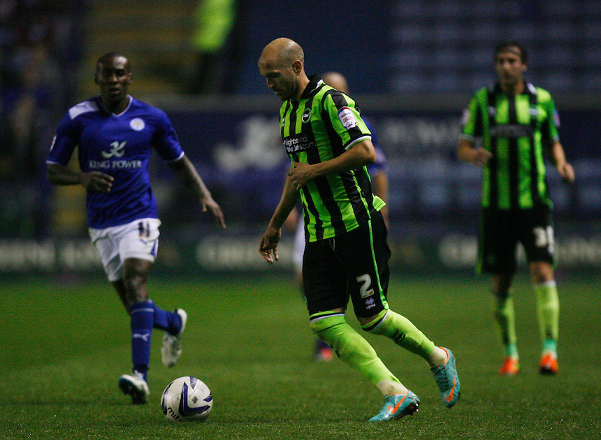 Brighton and Hove Albion's Bruno Saltor (R) in action during todays match        ..Football - npower Football League Championship - Leicester City v Brighton and Hove Albion - Tuesday 23rd October 2012 - King Power Stadium - Leicester..