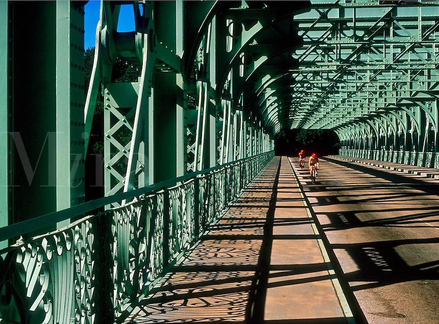Bikers on a bridge, Philadelphia, Pennsylvania