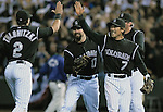 06 October  2007:  Colorado players , celebrate the Rockies 2-1 victory over the Philadelphia Phillies to win their National League Division Series at Coors Field, Denver, Colorado.