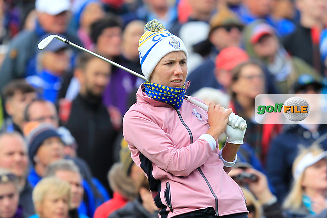 Carlota Ciganda of Team Europe on the 10th tee during Day 2 Foursomes at the Solheim Cup 2019, Gleneagles Golf CLub, Auchterarder, Perthshire, Scotland. 14/09/2019.<br /> Picture Thos Caffrey / Golffile.ie<br /> <br /> All photo usage must carry mandatory copyright credit (© Golffile | Thos Caffrey)