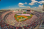 1 April 2013: A sellout crowd of 45,274 pack Nationals Park, as a giant American Flag is deployed in the outfielder prior to game action during the Opening Day Game between the Washington Nationals and the Miami Marlins at Nationals Park in Washington, DC. The Nationals shut out the Marlins 2-0 to launch the 2013 season. Mandatory Credit: Ed Wolfstein Photo *** RAW (NEF) Image File Available ***