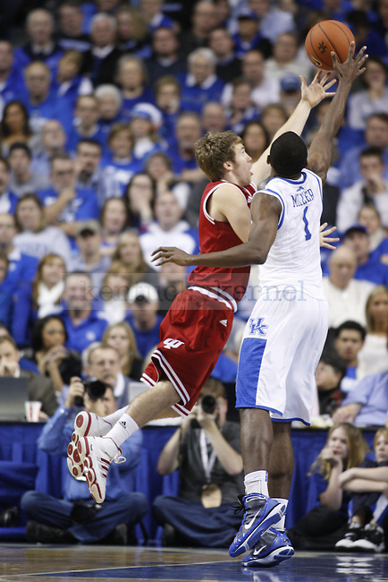 Indiana guard Jordan Hulls reaches for the ball against Junior guard Darius Miller, during the second half of UK's home game against Indiana on Dec. 11, 2010. UK defeated Indiana 81-62. Photo by Brandon Goodwin | Staff