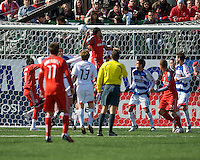 11 April 2009: Toronto FC midfielder Dwayne DeRosario #14 scores the first goal during MLS action at BMO Field Toronto, in a game between FC Dallas and Toronto FC. .Final score was a 1-1 draw.