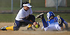 Jenna Laird #3 of East Meadow, right, successfully steals second base as Massapequa shortstop #9 Jessica Grillo tries to tag her in the bottom of the first inning of a Nassau County AA-1 varsity softball game at East Meadow High School on Wednesday, April 11, 2018. Massapequa won by a score of 8-4.