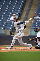 Lakeland Flying Tigers JaCoby Jones (36), on rehab assignment from the Detroit Tigers, at bat during a Florida State League game against the Tampa Tarpons on April 7, 2019 at George M. Steinbrenner Field in Tampa, Florida.  Tampa defeated Lakeland 3-2.  (Mike Janes/Four Seam Images)