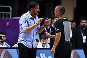 7th September 2017, Fenerbahce Arena, Istanbul, Turkey; FIBA Eurobasket Group D; Latvia versus Turkey; Head Coach Ufuk Sarica of Turkey  talks with the referee after his decision