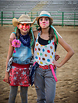 Young girl rodeo clowns in the Mutton Bustin' preliminary during the opening day of the 80th Amador County Fair, Plymouth, Calif.<br /> .<br /> .<br /> .<br /> .<br /> #AmadorCountyFair, #1SmallCounty Fair, #PlymouthCalifornia, #TourAmador, #VisitAmador