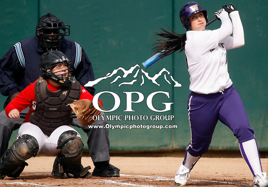 14 March 2010:  Washington Huskies senior All-American Danielle Lawrie pop flies out in her first at bat against Seattle University. Washington defeated Seattle University 8-3 at Husky Softball Stadium in Seattle, WA.