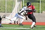 Palos Verdes, CA 11/10/10 - Brandon Chang (Palos Verdes # 35) and Isaac Kuo (Peninsula #28)in action during the junior varsity football game between Peninsula and Palos Verdes at Palos Verdes High School.