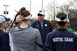 WINSTON-SALEM, NC - MARCH 17: Notre Dame head coach Jay Louderback talks to his players. The Wake Forest University Demon Deacons hosted the University of Notre Dame Fighting Irish on March 17, 2017, at Wake Forest Tennis Center in Winston-Salem, NC in a Division I College Women's Tennis match. Notre Dame won the match 4-1.